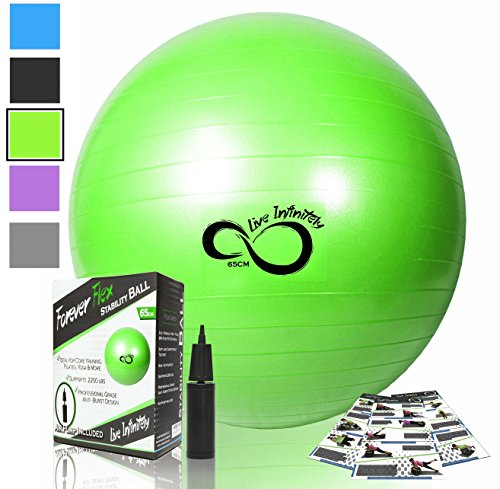 Exercise Ball -Professional Grade Anti Burst Tested with Hand Pump- Supports 2200lbs- Includes Workout Guide Access- 55cm/65cm/75cm/85cm Balance Balls (Green, 75 cm)