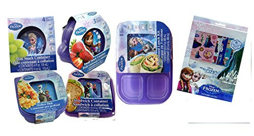 Disney Frozen Lunch Set! 12pc Food & Snack Containers With Lids Collection! Plus Bonus Frozen Elsa & Anna 6pc Reusable Sticker Book!