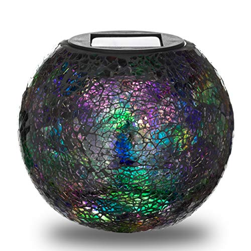 - Solar Lawn and Garden Decor Mosaic Glass Ball LED Light | Patio, Porch, Walkway, Yard Decoration Table Lamp | Great Outdoor Christmas Gift (World)
