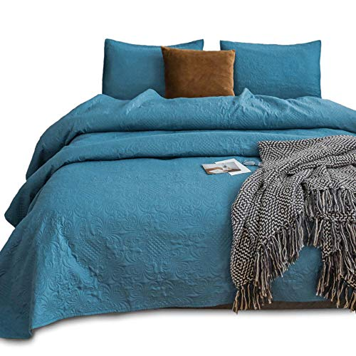 Kasentex Quilted Coverlet Set – Pre-Washed – Luxury Microfiber Soft Warm Bedding – Solid Colors Bedspread – Royal Floral Traditional Design, King + 2 King Size Shams, Blue Turquoise (Floral Design)