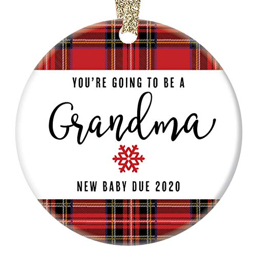 You#039re Going To Be A Grandma Ornament 2020 Pregnancy Announcement New Grandmother Gift 3quot Flat Circle Porcelain Christmas Ornament with Glossy Glaze Gold Ribbon amp Free Gift Box | OR00017 Mason