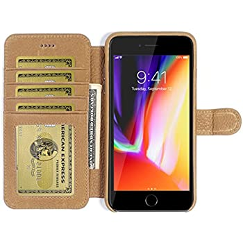 Burkley Leather Wallet Folio Case for Apple iPhone 8 Plus / 7 Plus with Magnetic Closure| Book Style Cover with Card Holders and Kickstand in a Gift Box - TAN