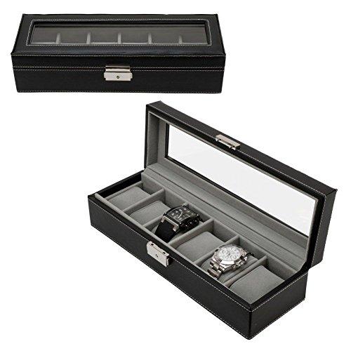 Dynasty Leather Watch (NEW! 6 Slot Watch Box Leather Display Case Organizer Top Glass Jewelry Storage Black)