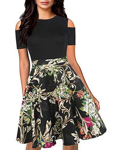 oxiuly Women's Casual Pockets Floral Flare Patchwork Party Cocktail Swing Midi Dress OX266 (L, Black Yellow)