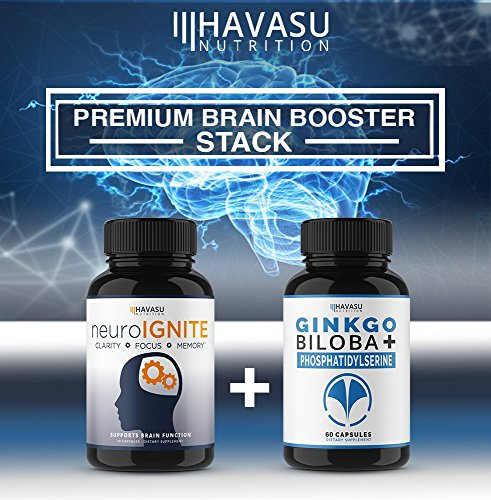 Havasu Nutrition Ginkgo Biloba & Phosphatidylserine Brain Supplement - Supports Focus, Memory, Brain Function & Mental Performance - Supports Brain Cell Activity & Fights Decay, Non-GMO, 60 Capsules