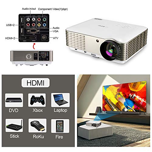 EUG 4600 Lumen HD LCD Home Theater Projector 1080P Digital Movie Gamineg Projectors HDMI Multimedia Proyector, HDMI USB RCA Audio VGA AV Zoom Keystone, Ideal for Outdoor Indoor Entertainment