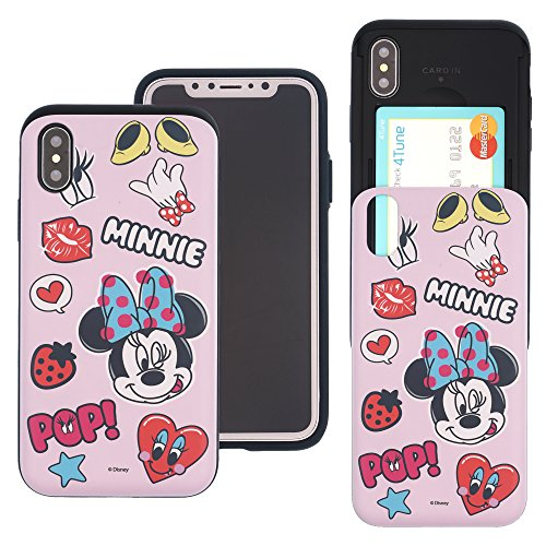 (iPhone Xs Max Case Cute Slim Slider Cover : Card Slot Dual Layer Holder Bumper for [ iPhone Xs Max (6.5inch) ] - Icon Minnie Mouse)