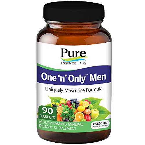 Pure Essence Labs One N Only Multivitamin for Men - Natural One a Day Herbal Supplement with Vitamin D, D3, B12, Biotin - 90 Tablets (Essence Day)
