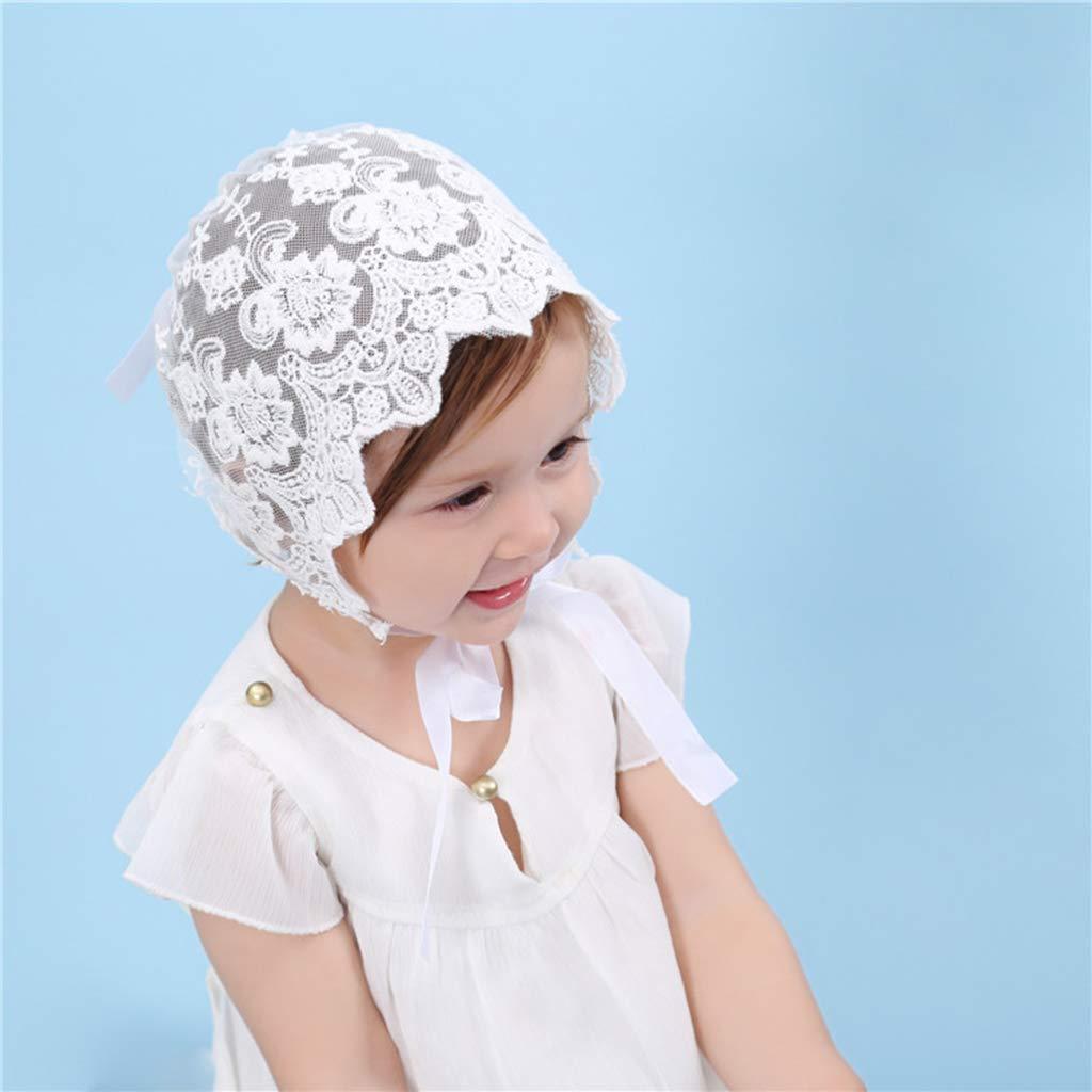 Ogquaton Pr/áctico beb/é reci/én Nacido de Encaje Cap Bonete de Encaje Bowknot Headwear Accesorios de fotograf/ía para 0-10 Meses Gris