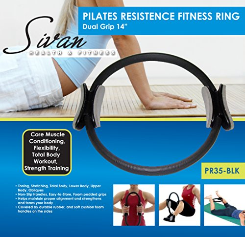 Sivan Health and Fitness Pilates Resistance Power Dual Gripped 14 Inch Fitness Ring,