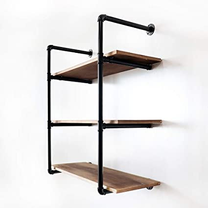 d17e8c3c49b1 Amazon.com: KINMADE Industrial Pipe Floating Ladder Shelf Vintage ...