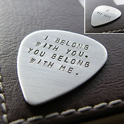 Guitar Pick - Personalized with Message or Quote - Hand Stamped Sterling Silver - Two-Sided ()