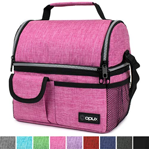 OPUX Insulated Dual Compartment Lunch Bag for Women | Double Deck Reusable Lunch Pail Cooler Bag with Shoulder Strap, Soft Leakproof Liner | Large Lunch Box Tote for Work, School (Pink)
