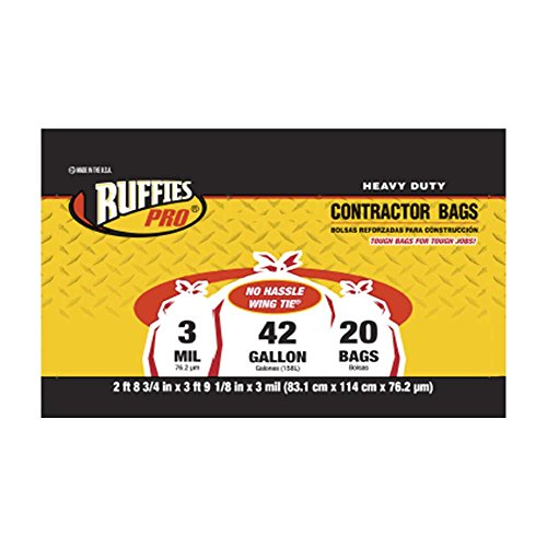 Price comparison product image Clear Contractor Bags,  Ruffies Pro,  3 mil,  42 Gallon (20 ct)