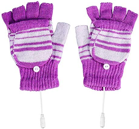 Yuehuam UniWomens & Mens USB Heated Gloves 1 Pair 5V Winter Full & Half Fingers Warm Laptop Gloves Washable Design- Purple / Yuehuam UniWomens & Mens USB Heated Gloves 1 Pair 5V Winter Full & Half Fingers Warm Laptop Gloves Washabl...