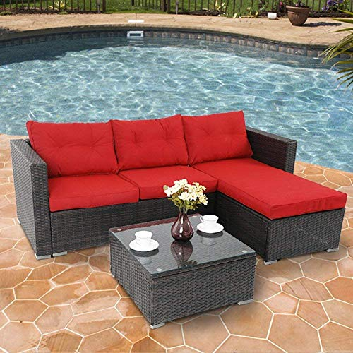 3 Piece Small Sectional - PHI VILLA 3-Piece Outdoor Rattan Sectional Sofa- Patio Wicker Furniture Set, Red