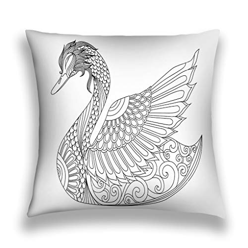 grr4ssd456 Throw Pillow Cover Pillowcase Drawing Zentangle swan Coloring Page Design Effect Logo Decoration Sofa Home Decorative Cushion Case -