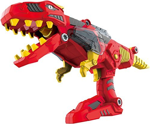 CoolToys 17 pc Dinobots Transformer Super Dino Charge Morpher with Exciting Lights and Lively Sound Effects| T-Rex Super Charge Morpher | Dinobots Super Transformation Set with Electric Drill- Red -