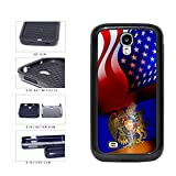 Armenia and USA Mixed Flag 2-Piece Dual Layer Phone Case Back Cover Samsung Galaxy S4 I9500 includes BleuReign(TM) Cloth and Warranty Label