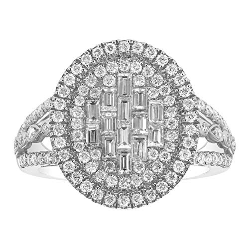 Olivia Paris 14k White Gold Baguette Cut Diamond Cocktail Ring (1 1/5 cttw, H-I, I1)