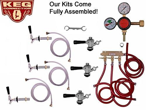 (3 Faucet Refrigerator Keg Kit Commerical Tap, Taprite Regulator, by Kegconnection)