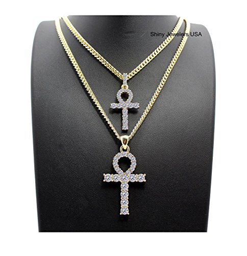 MENS HIP HOP GOLD SILVER ICED OUT MICRO DOUBLE ANKH CROSS PENDANT CUBAN ROPE BOX CHAIN NECKLACE SET (Gold Cuban chain 20