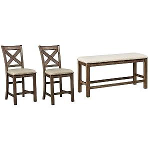 Signature Design by Ashley Moriville Counter Height Bar Stool, Beige & Ashley Furniture Signature Design - Moriville Counter Height Dining Room Bench - Grayish Brown