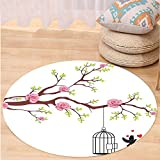 VROSELV Custom carpetFlying Birds Decor Collection Blossomed Roses and Flying Love Birds with Hearts and Cage Couple Decorative Bedroom Living Room Dorm Pink Brown White Round 79 inches