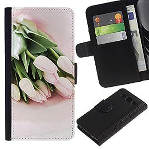 Billetera de Cuero Caso Titular de la tarjeta Carcasa Funda para Samsung Galaxy S3 III I9300 / Tulips Watercolor Green Flowers Pink / STRONG