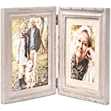 ZingVic Double Folding 6x8 LightGray Wood Picture Frame with Glass Front - 6x8 Without Mat or 4x6 with Mat - American Class Style Antiquated - Stands on Desktop or Table Top
