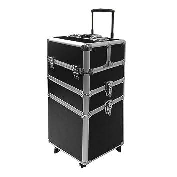 HENGMEI 3 en 1 Maleta multiusos tipo trolley Maletín de Cosméticos Organizador con ruedas, Negro: Amazon.es: Equipaje
