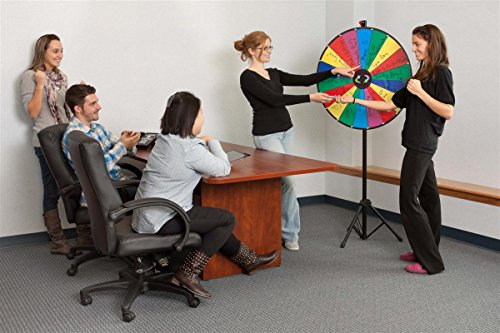 Displays2go Prize Wheel with Height-Adjustable Floor Stand/18 Slot Design/30-Inch Write-On Surface for Wet or Dry-Erase Markers (Carrying Bags Included) by Displays2go (Image #1)