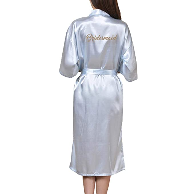 yunhou Moda Boda Kimono Satén Largo Satinado Vestido de Novia de la Boda Dama de Honor Vestido de Seda de la Madre Albornoz Batas de Kimono: Amazon.es: Ropa ...