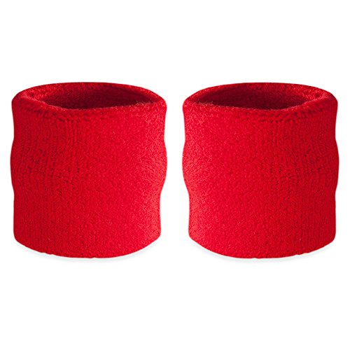 Wristband Red Baseball (Suddora Wrist Sweatbands Also Available in Neon Colors - Athletic Cotton Terry Cloth Wristbands for Sports (Pair) (Red))