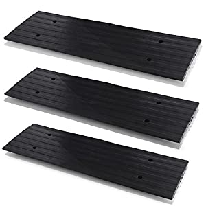 Pyle Car Driveway Adjustable Curb Ramps - 3 Pack Heavy Duty Rubber Threshold Ramp Kit Set - Also for Loading Dock, Garage, Sidewalk, Truck, Scooter, Bike, Motorcycle & Wheelchair Mobility - PCRBDR23
