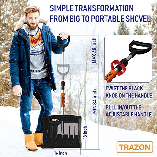 Snow Shovel for Driveway Car Home Garage - Portable Folding Snow Shovel with Retractable Ergonomical Handle and Large Capacity for Snow Removal - Heavy Duty Metal Collapsible Shovel and Snow Removal