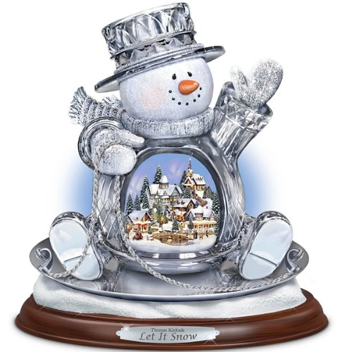 Thomas Kinkade Let it Snow Crystal Snowman on a Saucer Sculpture by The Bradford Exchange