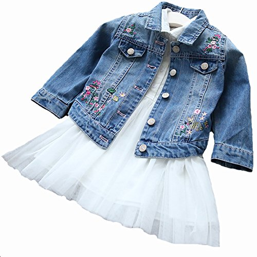 dcb0bbd561efa 春 キッズデニムジャケット 刺繍付き ジャケット 長袖 ジージャン ガールズ 女の子 子供用 ジュニア アウター ママとお揃い 親子お揃い