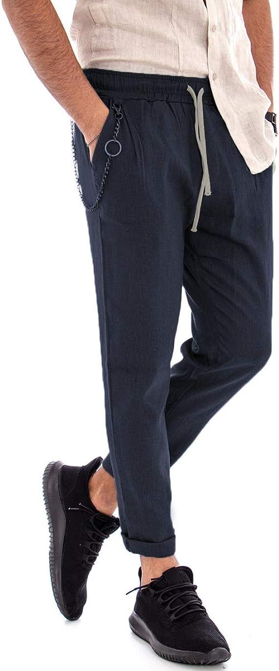 Giosal – Pantalón de Hombre de Lino, chándal Azul, Bolsillo ...
