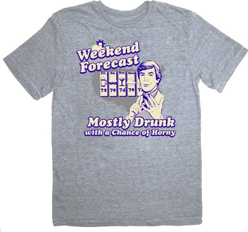(The Hangover Weekend Forecast Mostly Drunk Chance Horny Heather Gray T-shirt)