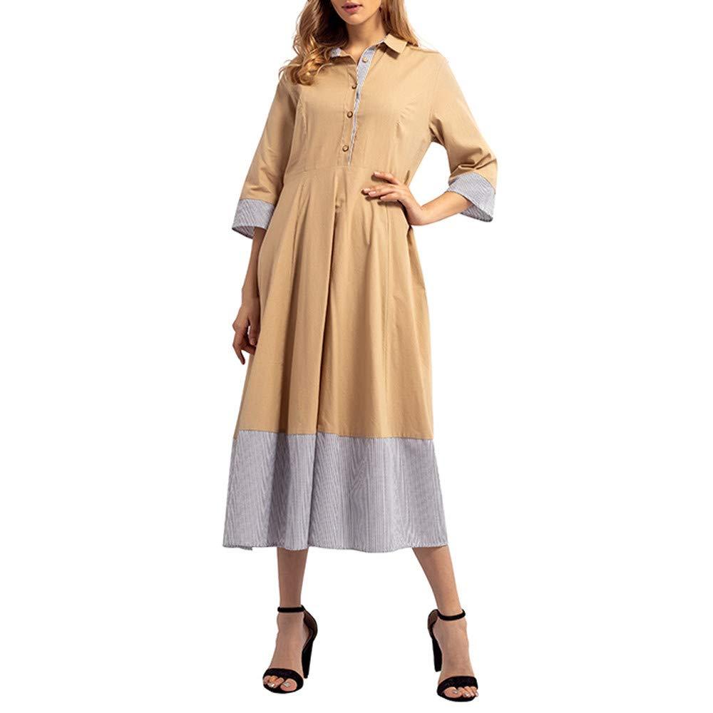 Littleice Women Three Quarter Patchwork Button Straight Dress Muslim Middle East Maxi Robe Dresse (XL)