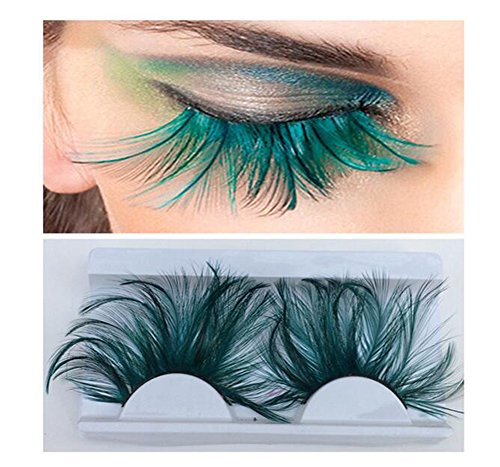 1 Pair Feather Eyelashes False Eyelashes Long Feather Flake Eyelash Reusable Best Fake Lashes for Party Stage Show Masquerade Cosplay Fancy Party Halloween (Green) -