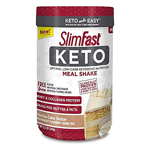 SlimFast Keto Meal Replacement Shake Powder, Vanilla Cake Batter (Pack of 14)