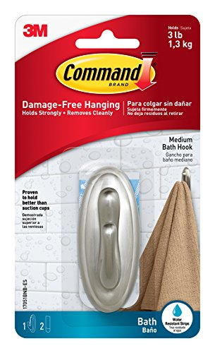 Command Traditional Plastic Bath Hook, Medium, Brushed Nickel, 1-Hook (17051BN-B) - Nickel Wall Bath