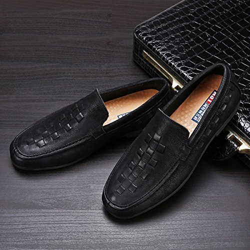 GRRONG Zapatos De Cuero De Los Hombres Casual Parte Inferior Suave Y Transpirable De Negocios Cómodo Black