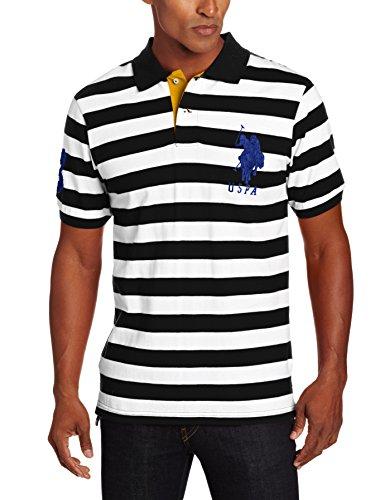 U.S. Polo Assn. Men's Short Sleeve Striped With Big Pony, Black/White, Medium
