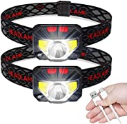 2 Pack Headlamp Flashlight, Rechargeable LED Head Lamp with Battery Indicator, Waterproof, 6 Modes for Camping