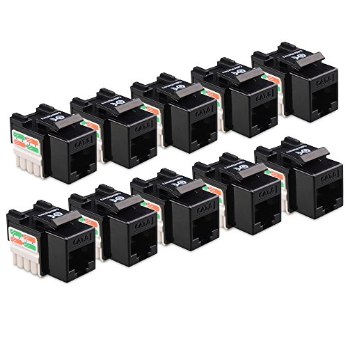Cable Matters 10-Pack Cat6 RJ45 Punch-Down Keystone Jack in - Black Keystone Jack