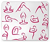 Yoga Mouse Pad by Ambesonne, Doodle Style Women Figures Various Exercise Poses Workout Health Lifestyle Bodycare, Standard Size Rectangle Non-Slip Rubber Mousepad, Pink White