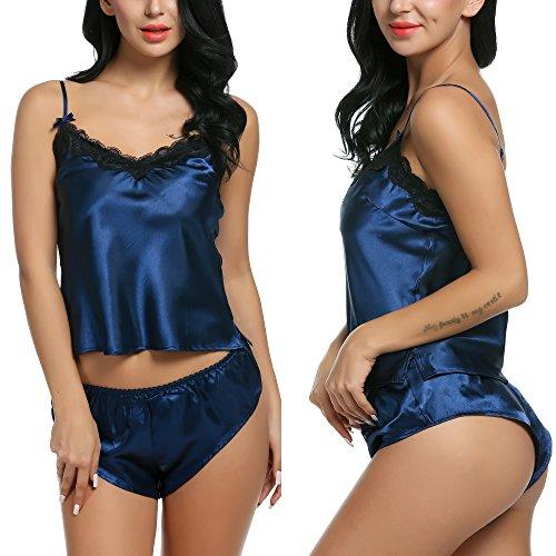 Avidlove Women Lingerie Sleepwear Satin Pajama Sexy Camisole Short Sets Blue (Blue Satin Camisole)